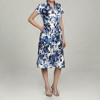 Jessica Howard Womens Petite Blue Button Front Belted Waist Dress