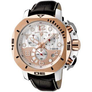 Swiss Legend Mens Scubador Black Leather Chronograph Watch