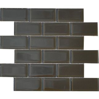 Espresso Brown 2x4 inch Shiny Glass Tiles (Pack of 11)