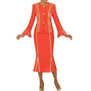 Divine Apparel Womens Gold Strap Detail Missy Skirt Suit