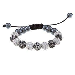 La Preciosa 10mm White, Grey Crystal and Hematite Beads w/ Black Cord