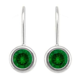 10k Gold May Birthstone Created Emerald Bezel Leverback Earrings