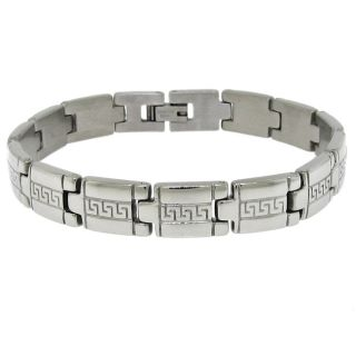 Moise Silvertone Mens Greek Key Link Bracelet