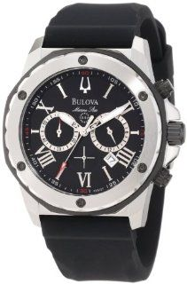 Bulova Mens 98B127 Marine Star Black Dial Strap Watch Watches