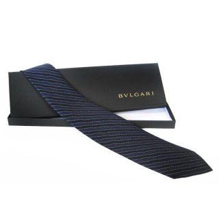 Bvlgari Segni di Viaggio Blue 7 fold Silk Necktie