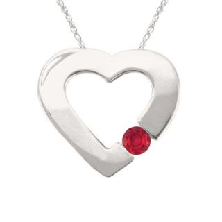 10k Gold July Birthstone Created Ruby Contemporary Bold Heart Necklace