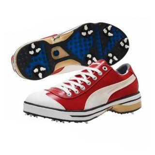 PUMA Mens Club 917 Ribbon Red/ White/ Team Gold Golf Shoes