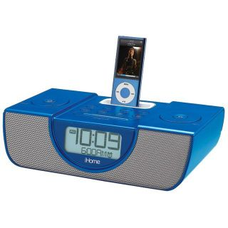 iHome Blue iPod and iPhone Dual Alarm Clock Radio