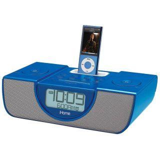 iHome Blue iPod and iPhone Dual Alarm Clock Radio