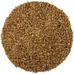 Hand woven Mandara Gold Leather Shag Rug (49 Round)