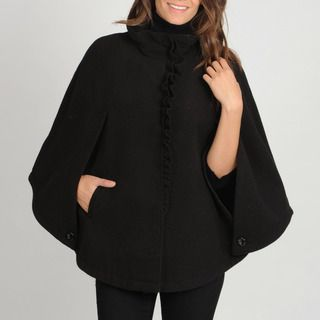 Larry Levine Womens Plus Size Ruffle Front Cape