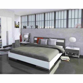 EFFY Lit 160x200cm Blanc/Gris   Achat / Vente SOMMIER ET MATELAS EFFY