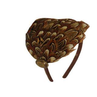 Bow Clippeez 2 Envy Brown Pheasant Feather Vintage Headband