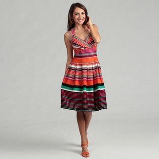 Calvin Klein Womens Sleeveless Multi Orange Striped Dress