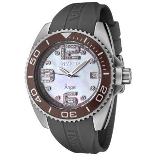 Invicta Womens Angel Dark Grey Rubber White Diamond Watch