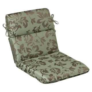 Pillow Perfect Outdoor Brown/ Green Floral Rounded Chair Cushion with
