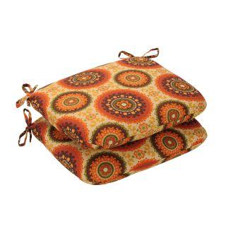 Pillow Perfect Outdoor Brown/ Orange Circles Round Seat Cushions (Set