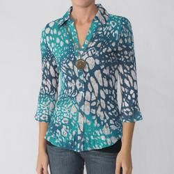 Nicola Womens Necklace Crinkle Blouse