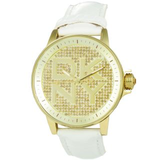 DKNY Womens White Leather Strap Dress Watch