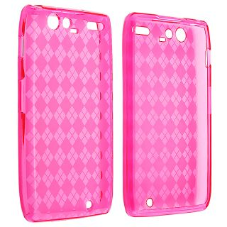 Clear Hot Pink Argyle TPU Skin Case for Motorola Droid RAZR Maxx XT916