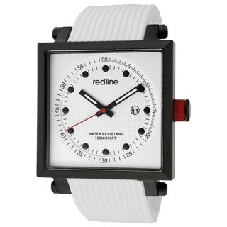 Red Line Mens Compressor 2 White Textured Silicone Watch