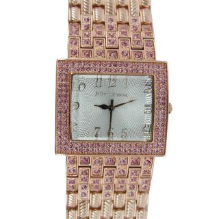 Betsey Johnson Womens Rose Gold Pink Crystal Watch