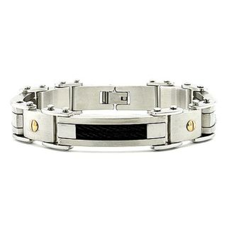 Stainless Steel Mens Goldplated Screw Accent Cable Link Bracelet