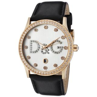Dolce & Gabbana Womens Gloria White Crystal Black Leather Watch
