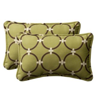 Pillow Perfect Decorative Green/ Brown Geometric Outdoor Toss Pillows