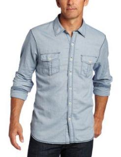 True Grit Mens Vintage Texture Long Sleeve 2 Pocket Shirt