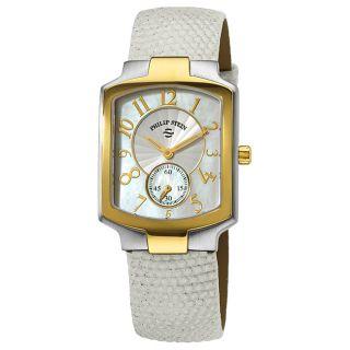 Philip Stein Womens Classic White Strap Two Tone Watch