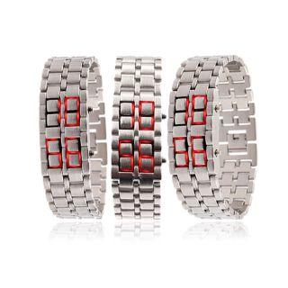 Mens Stainless Steel Lava LED Digital Bracelet Watch