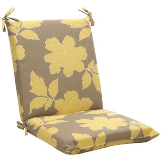 Squared Gray/ Yellow Floral Outdoor Chair Cushion