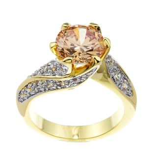 Kate Bissett 14k Gold Overlay Champagne Cubic Zirconia Cocktail Ring
