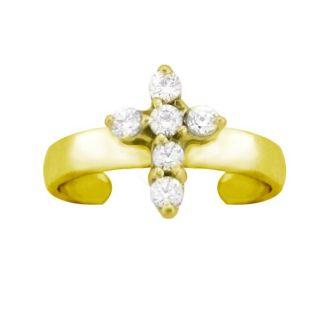 10k Gold 1/8ct TDW Diamond Pave Cross Toe Ring (G H, SI1 SI2