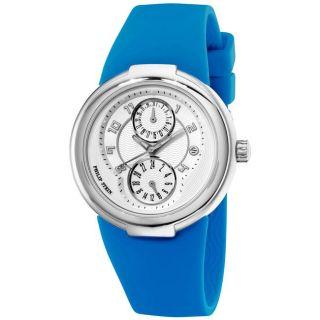 Philip Stein Womens Active Blue Rubber Strap Watch
