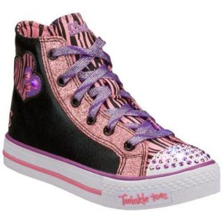 Girls Skechers Twinkle Toes Shuffles Light Hearted Black/Pink