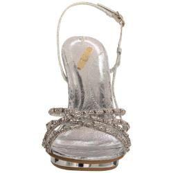 Celeste Womens Joyce 01 Silver Rhinestone Slingbacks