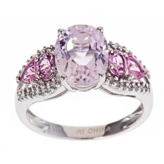 Yach 10k White Gold Kunzite/ Pink Sapphire/ 1/6ct TDW Diamond Ring