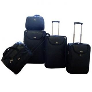 American Flyer Basketweave 5 Piece Luggage Set   Black