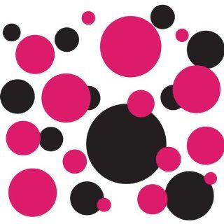 136 Polka Dot Peel & Stick Wall Decals, Fuschia & Black