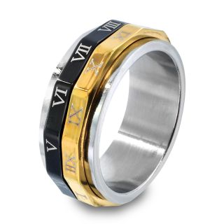 Tri color Stainless Steel Roman Numeral Spinner Ring