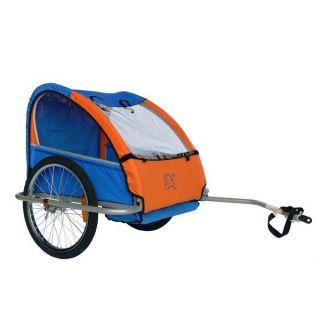 Remorque enfant, modèle Kiddy Trailer. Coloris  orange/bleu. Existe