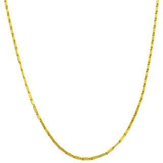 14k Yellow Gold 16 inch Square Bar Link Necklace (0.8 mm)