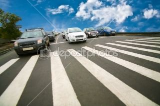 Cars stopped on pedestrian crossing  Foto Stock © Yuri Bizgajmer