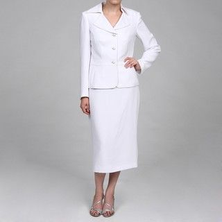 John Meyer Womens White 3 button Skirt Suit