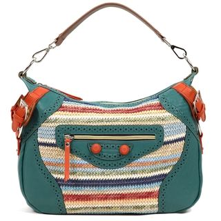 Nicole Lee Naysa Rainbow Raffia Faux Leather Hobo Bag