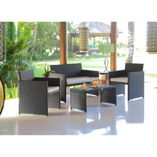 CALVI Salon de jardin composé de 4 pièces : 1 canapé 2 places, 2