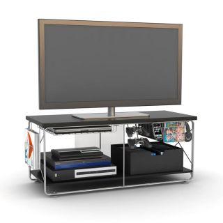 Techno City Double Rod Silver Metallic Frame and Black Top TV Stand