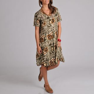 La Cera Womens Princess Seam Sage Green Floral print Dress